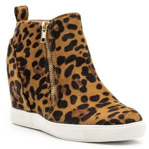 New Leopard Zipper Hidden Wedge High Top Sneakers
